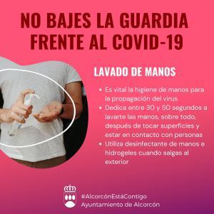 Texto Alternativo: Alcorcón hace hincapié en la necesidad de seguir las recomendaciones y consejos de protección para evitar el  contagio por COVID-19