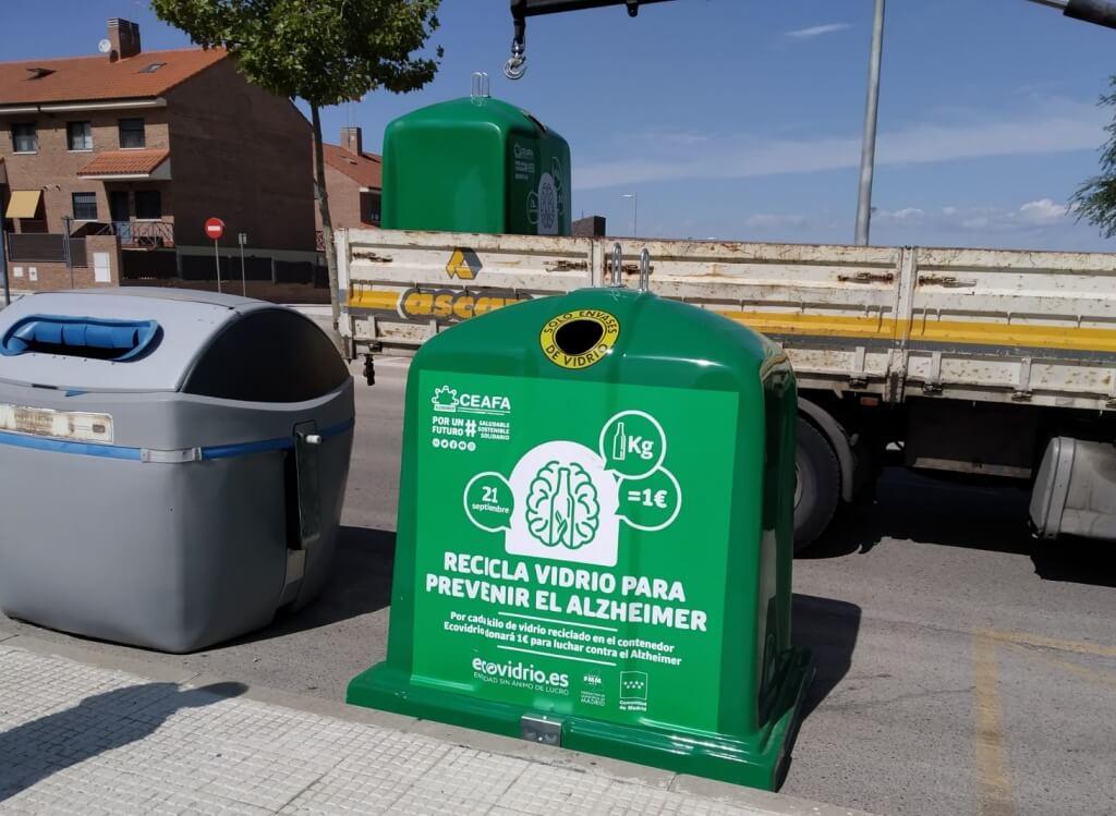 Texto Alternativo: Navalcarnero instalará contenedores de reciclado de vidrio para recaudar fondos en la lucha contra el Alzheimer