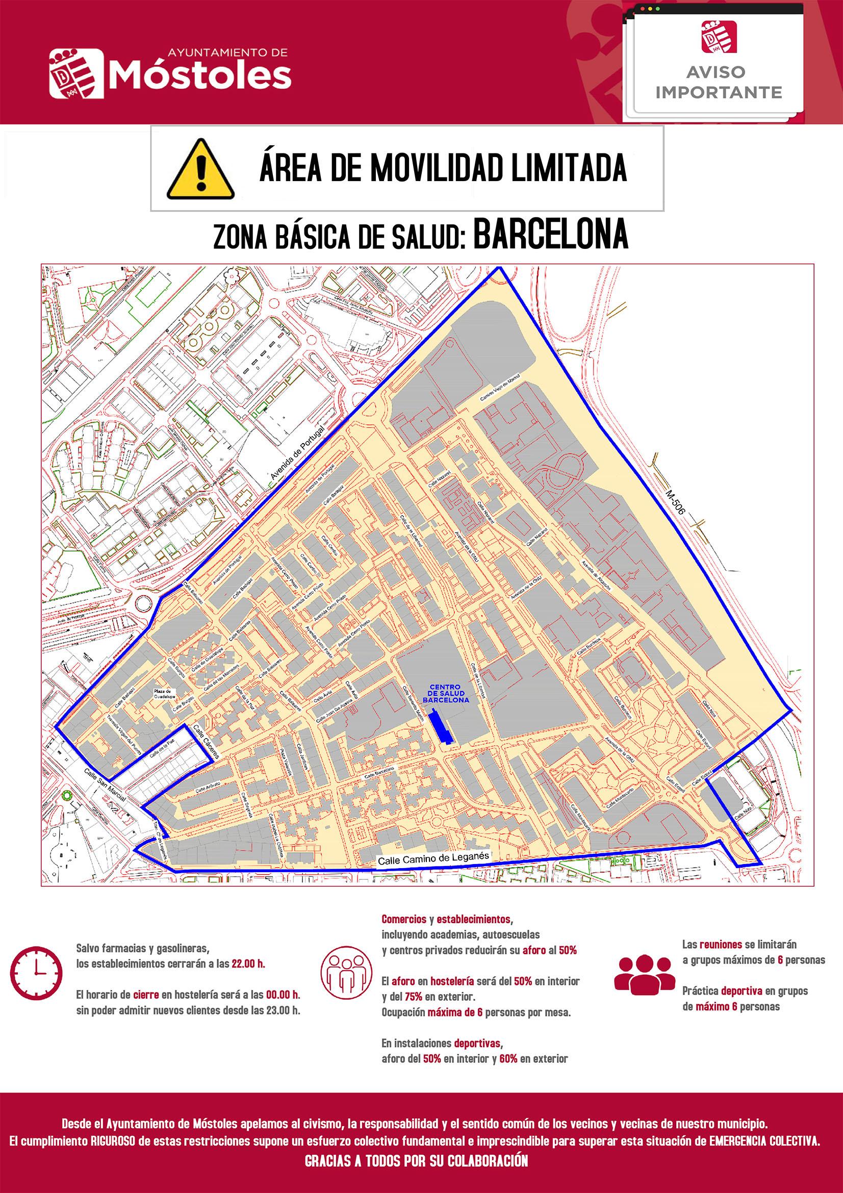 Texto Alternativo: El Gobierno de Móstoles apela a la responsabilidad de todos ante el confinamiento del área básica de salud de la calle Barcelona